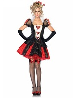 Sexy Adult Women Poker The Red Queen Of Hearts Costume Alice In Wonderland Dress Carnival Party