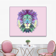 Laeacco Canvas Painting Calligraphy Watercolor Cartoon Animal Posters and Prints Lion Wall Art Pictures Living Room Home Decor