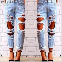 Women's Casual Hole Destroyed Ripped Jeans Street Style Distressed Boyfriend Jeans Woman Roll Up Ankle Cotton Pencil Jeans Femme