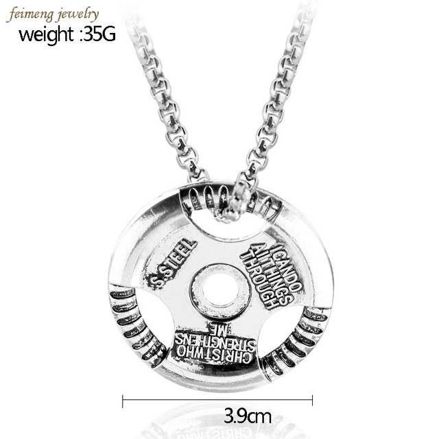 2017 Top Grade Quality Weight Plate Pendant Barbell Dumbbell Weightlifting Bodybuilding Fitness Steering Wheel Pendant Necklace