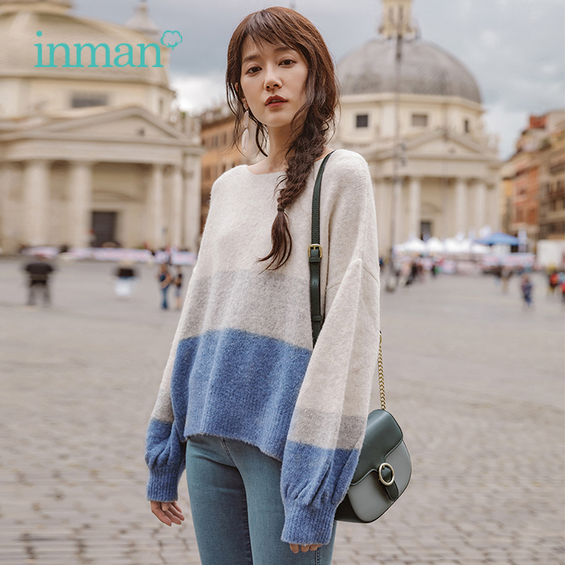 INMAN Autumn New Arrival Round Collar Stripped Loose Style Lantern Sleeve Women Patchwork Pullover Sweater