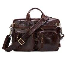 TOP POWER 100% Genuine leather Men Bag Cowhide Men Shoulder Bag Tote Laptop Briefcases Handbags Fashion Multi-function Bag