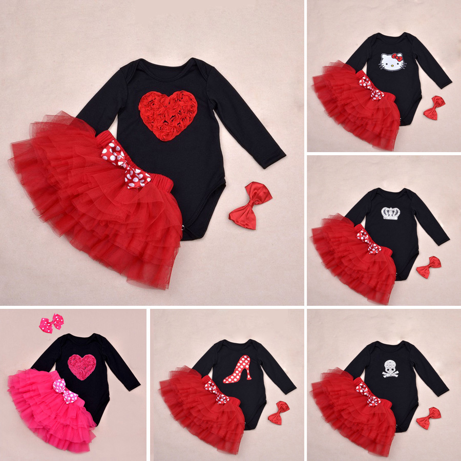 Baby Ruffle Skirts Set Lovely Cat print Girls Saia Tutu Pettiskirt Party Dance Skirt Sets Crossbones Bodysuit and Headband