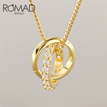 ROMAD Fashion 925 Sterling Silver Necklaces & Round Pendants Neckalce Elegant Rhinestone Choker Necklace For Women Jewelry Gift