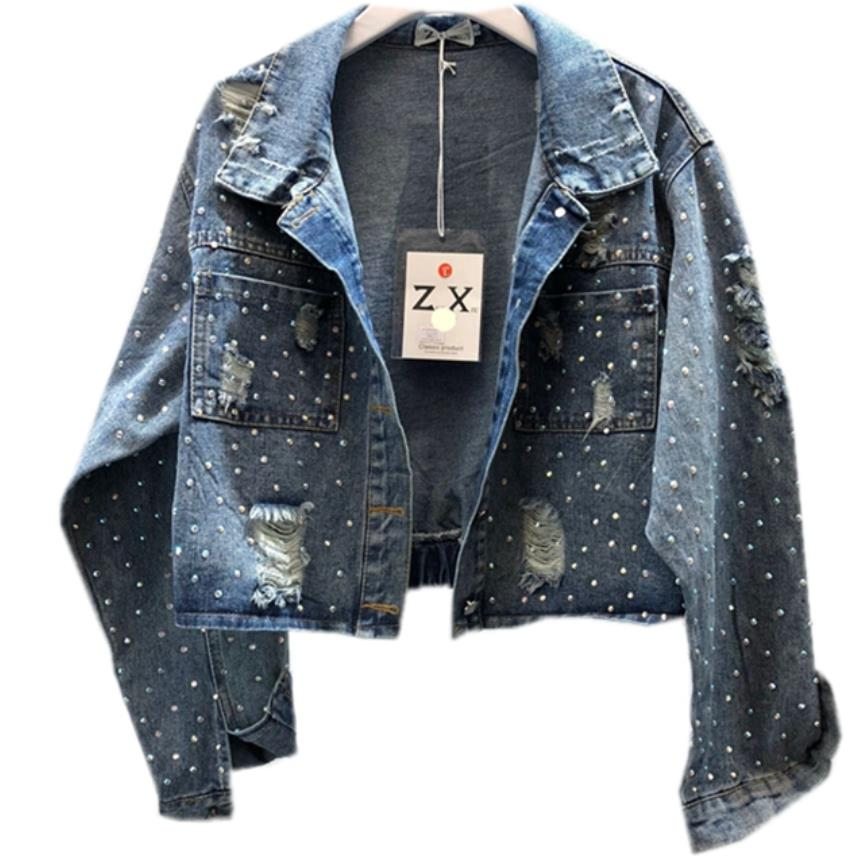 Jackets & Coats Basic Jackets Radient Spring Autumn New Fashion Heavy Denim Coat Hot Drilling Blue Short Jeans Jacket Women Lustrous