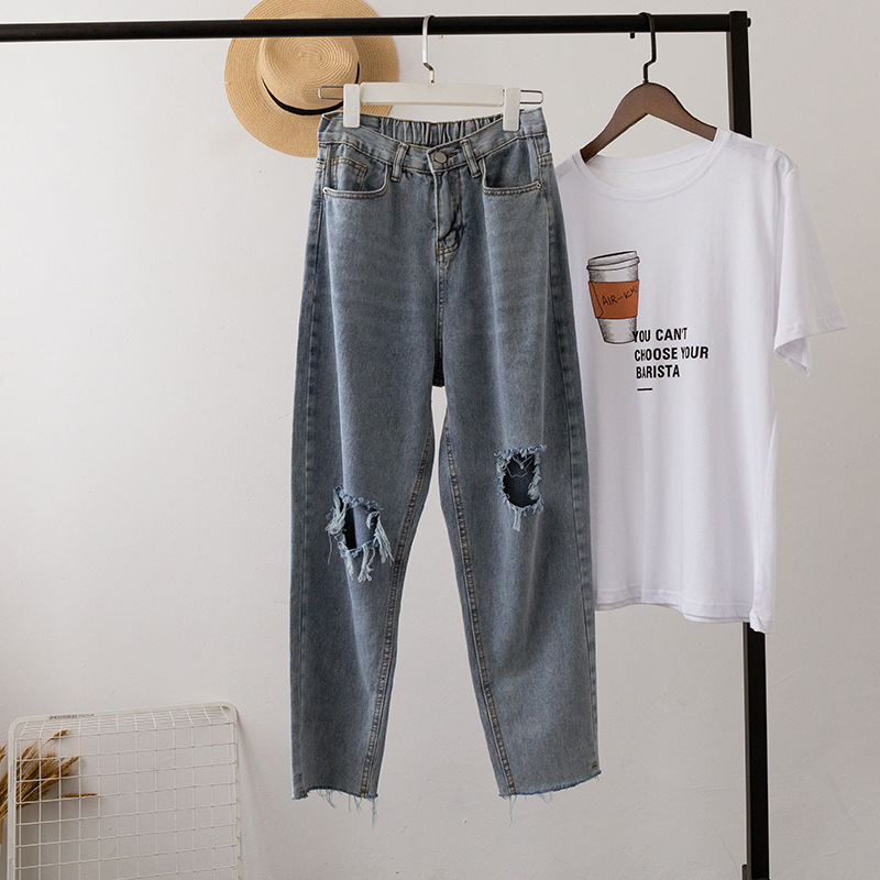 Chic Retro Loose Straight Mom Jeans Vintage Hole High Waist Loose Casual Jeans Streetwear Harajuku Boyfriend Jeans For Women