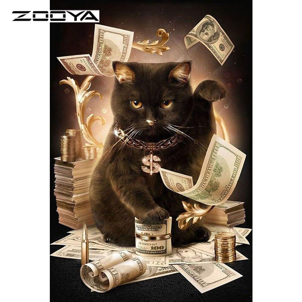 ZOOYA Cat With Cash Rhombus Embroidery DIY Handcraft Mosaic Diamond Painting Cross Stitch Full Drill Rhinestone Painting AT1441