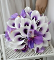 21pcs/lot NATURAL/REAL TOUCH FLOWERS WHITE & DARK PURPLE & PINK CALLA LILY WEDDING BOUQUETS