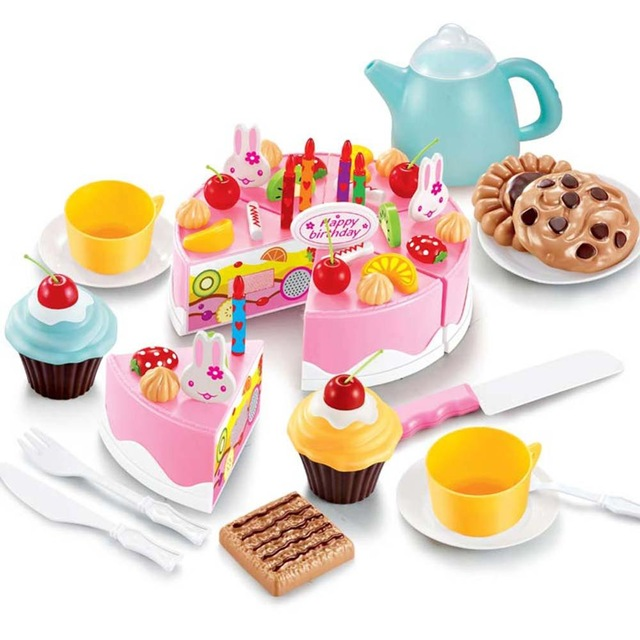 38 54pcs diy pretend play fruit cutting birthday cake - Cocina juguete aliexpress ...