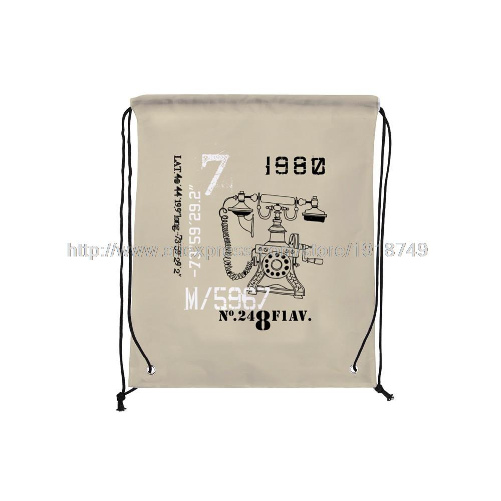 four pcs/lot telephone printed drawstring bags storage backpack   water proof brown  retrostyle backpack
