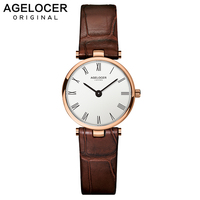 AGELOCER Watch Women Fashion Gold Stainless Steel Ladies Watches Leather Quartz Watch Relogio Feminino Clock Relojes Mujer 2019