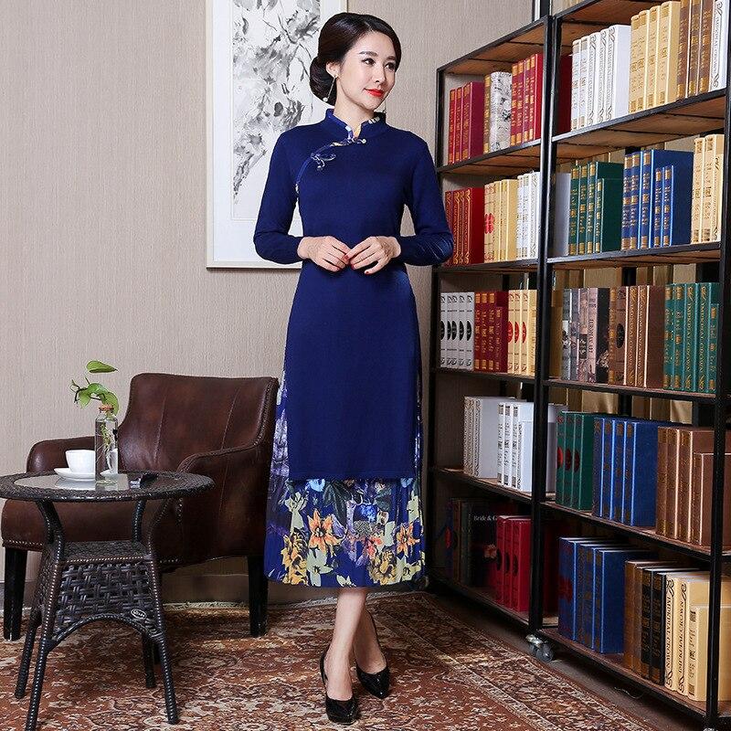 2019 New Black Vietnam Aodai Cheongsam Traditional Chinese Women Wool Thick Dress Female Vintage Flower Long Qipao L XL XXL