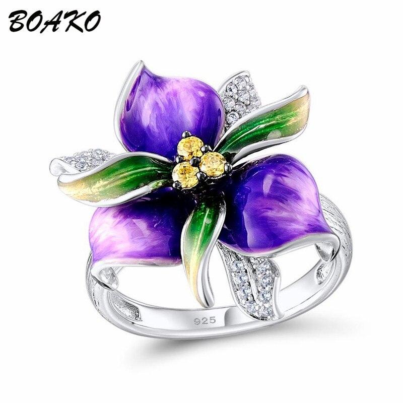 BOAKO 925 Bague en argent Sterling violet émail fleur anneau pour les femmes AAA Zircon cristal anneau délicat mode doigt bijoux Bague