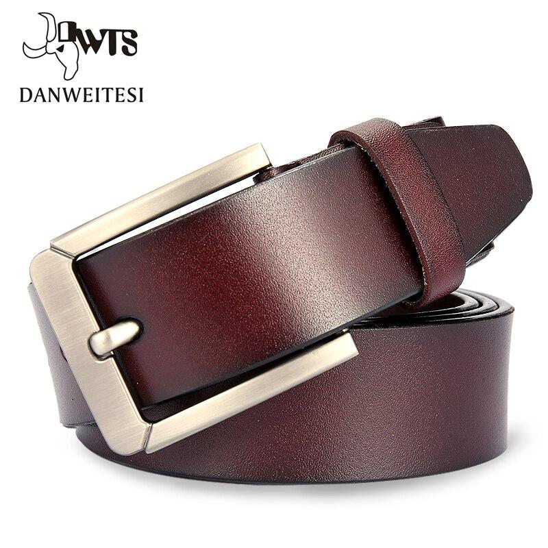 [DWTS] Fashion Leather Belt Men Genuine Leather Luxury Strap Male Belts For Men Buckle Fancy Vintage Jeans Ceinture Homme