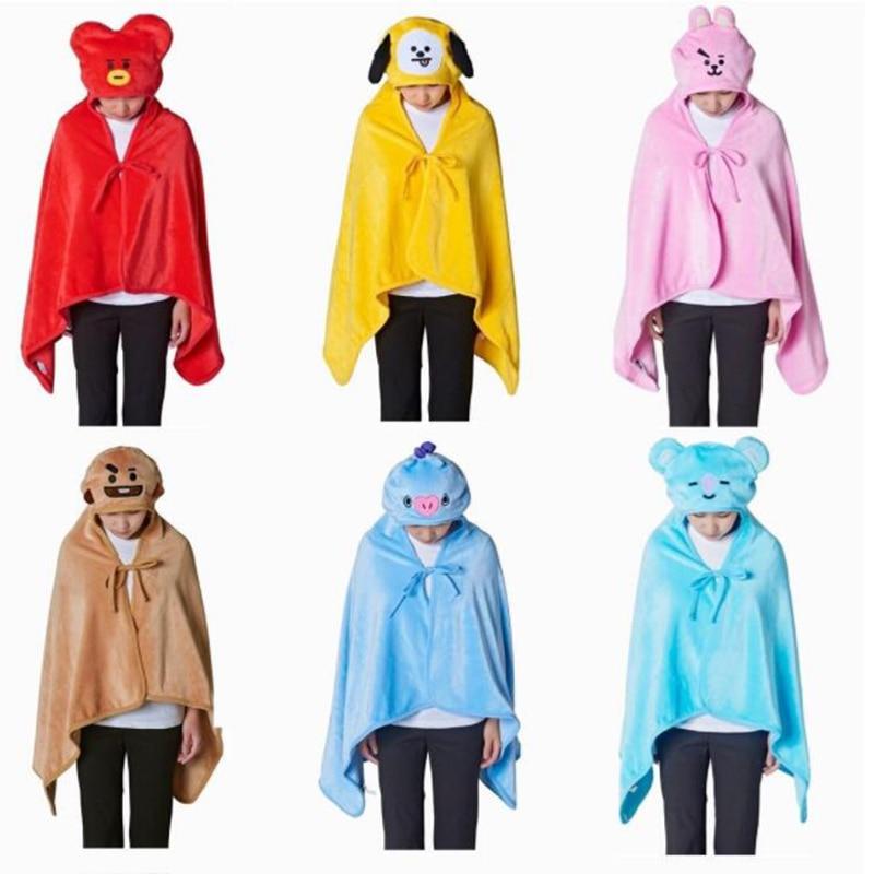 Kpop BTS Bangtan Boys Cartoon BT21 Plüsch Mit Kapuze Decke COOKY CHIMMY TATA Weiche Warme Schal Klimaanlage Decke Outdoor Hoody
