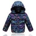 2016 Moda Floral Imprimir Casacos de Inverno Para Baixo para As Meninas Casacos Quentes Do Bebê Moletom Com Capuz Menina Pato Para Baixo Crianças Jaqueta Crianças Outerwears
