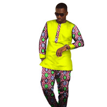 African Dresses Hot Sale Direct Selling Men 2017 African Men's Cotton Long Sleeved T-shirt And Casual Suit Pants