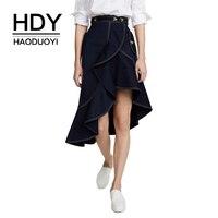 HDY Haoduoyi Women Sweet Ruffled Irregular Hem Skirt Front Short Metal Button Knee Length Long Asymmetrical Skirt Hot Wholesale