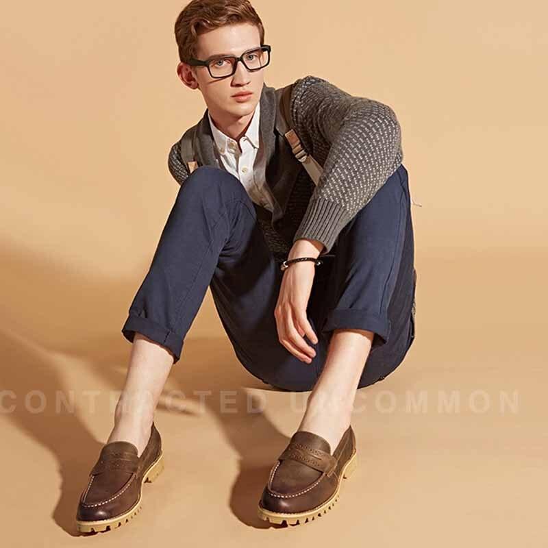 Couro Primavera Coreano Escuro Da Sapatos Moda Macio Vela Genuíno Outono Casuais Dos Homens Preguiçosos cáqui Doug Britânicos Loafer De Marrom Condução rgqr7Wna