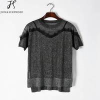 Tshirt Women Golden Silk Thread Lace T Shirt Short Sleeve Women Tops 2017 New Tops Women