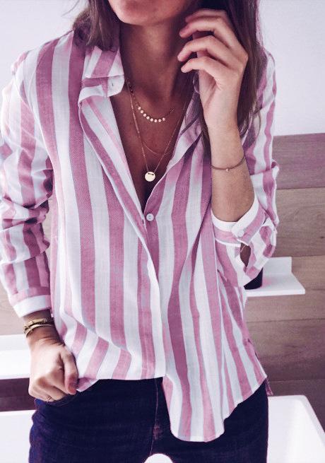 chic women striped new  blouse autumn fall winter shirt womens blouses printed ladies female top
