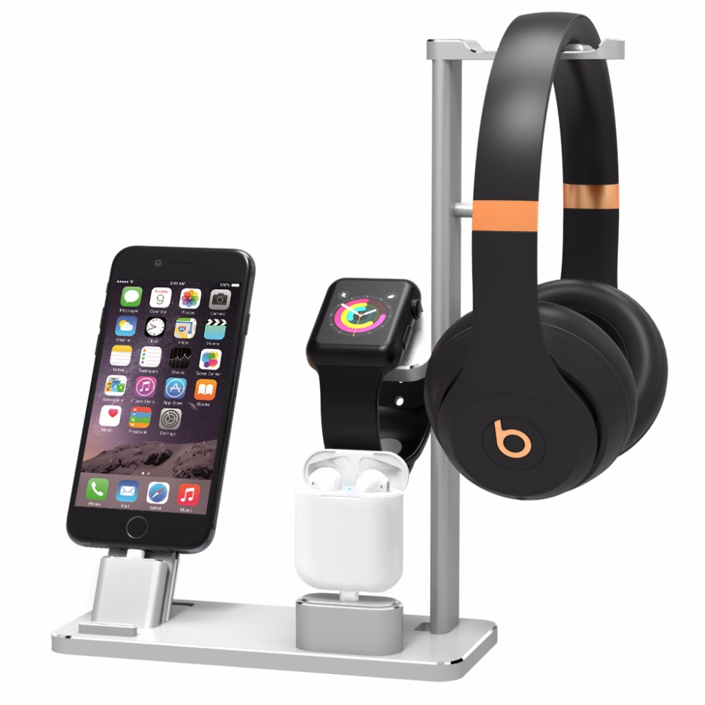 Support de support de casque en Aluminium charge Dock chargeur Base de montage de Station pour Apple Watch Series 2/1 iPhone 7 7 plus 6 s 6plus X 8