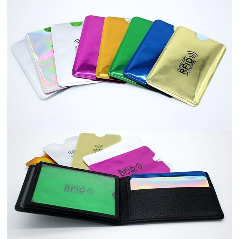 NFC Anti Rfid Wallet Blocking Reader Lock Bank Card Holder Id Bank Card Case Protection Metal Credit Card Aluminium 6*9.3cm
