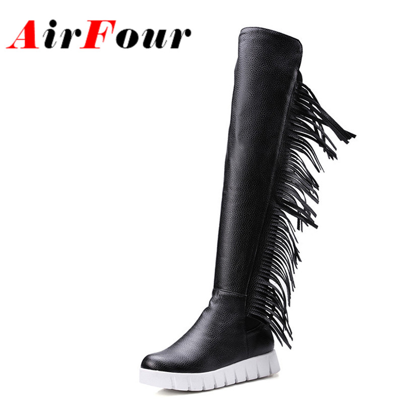 ФОТО Airfour Low Heels Wedges Shoes Woman Slip-on Knee-high Boots for Women Round Toe Winter Warm Boots Tassels Charms Platform Shoes