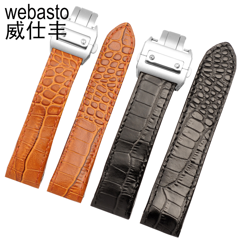 Webasto Watch Band For Cartier Santos Cow Leather Straps Width 20 23mm Butterfly Buckle Watch Strap Watchbands Free Shipping b8 custom order italian leather watch strap 12 23mm blue watchband with free shipping