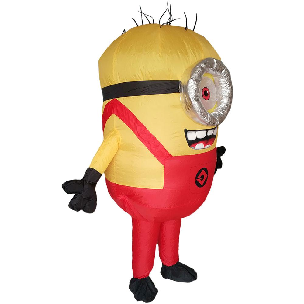 Women Men Inflatable Minion Costume Halloween Party Outfit Mascot Blow Up Suit Carnival Cosplay Fancy Dress Red Green Blue in Movie TV costumes from Novelty Special Use