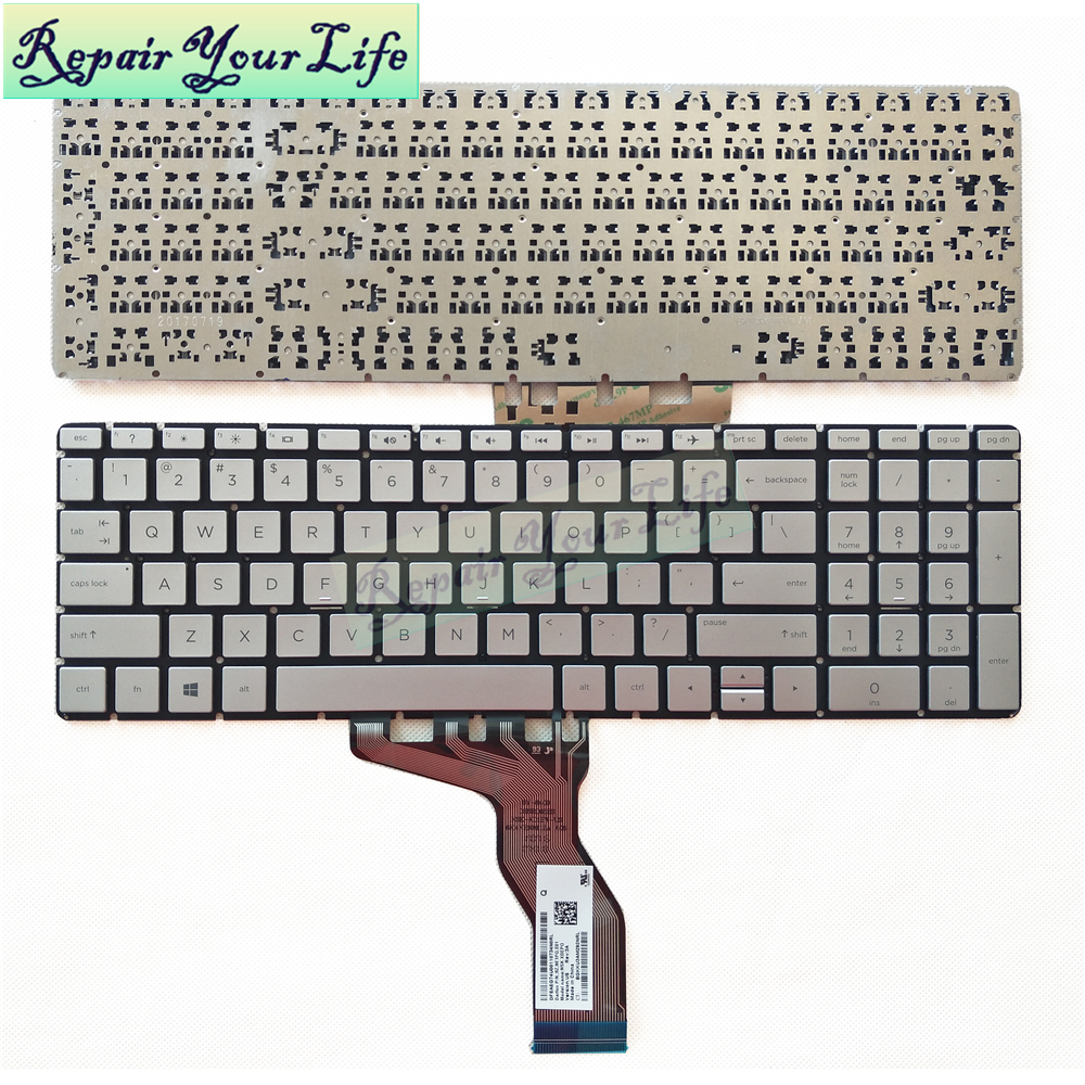 Repair You Life laptop <font><b>keyboard</b></font> for <font><b>HP</b></font> for Pavilion 15-BS535TU 15-BS <font><b>250</b></font> <font><b>G6</b></font> 15-BS780CL 15-bs047ng <font><b>Keyboard</b></font> US silvery new image