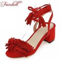 Brand Shoes Woman Flock Gladiator Sandals Women Summer Dress Shoes Lace Up High Heels Fringe Beach