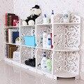 4 pçs/set Branco 3 Camadas Sapateiras Escultura Em Madeira Book Shelf Organizador Do Armário De Armazenamento 153*80*23 CM