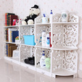 4pcs/set White 3 Tier Shoe Racks Wood Carving Book Shelf Closet Organizer Storage Furniture 153*80*23CM