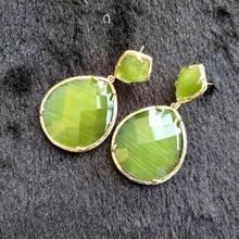 Mujeres azul verde amarillo Pendientes de gota moda piedra joyería pendiente 2018 moda vintage cuelgan largo Pendientes oorbellen regalos