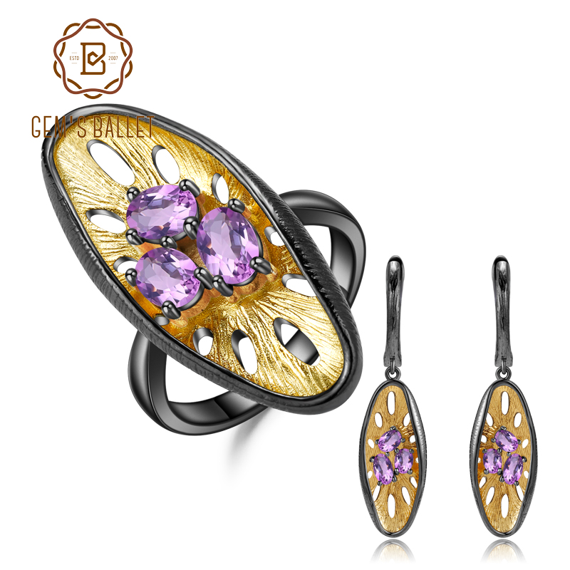 GEM S BALLET 925 Sterling Silver Handmade Honeycomb Ring Earrings Jewelry Sets 2 55Ct Natural Amethyst