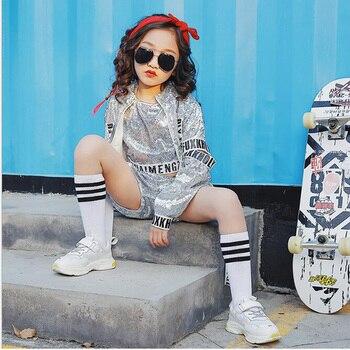 a8c8f6d0e Los niños con lentejuelas de Jazz moderno hip Hop ropa trajes de camisa  Tops pantalones para