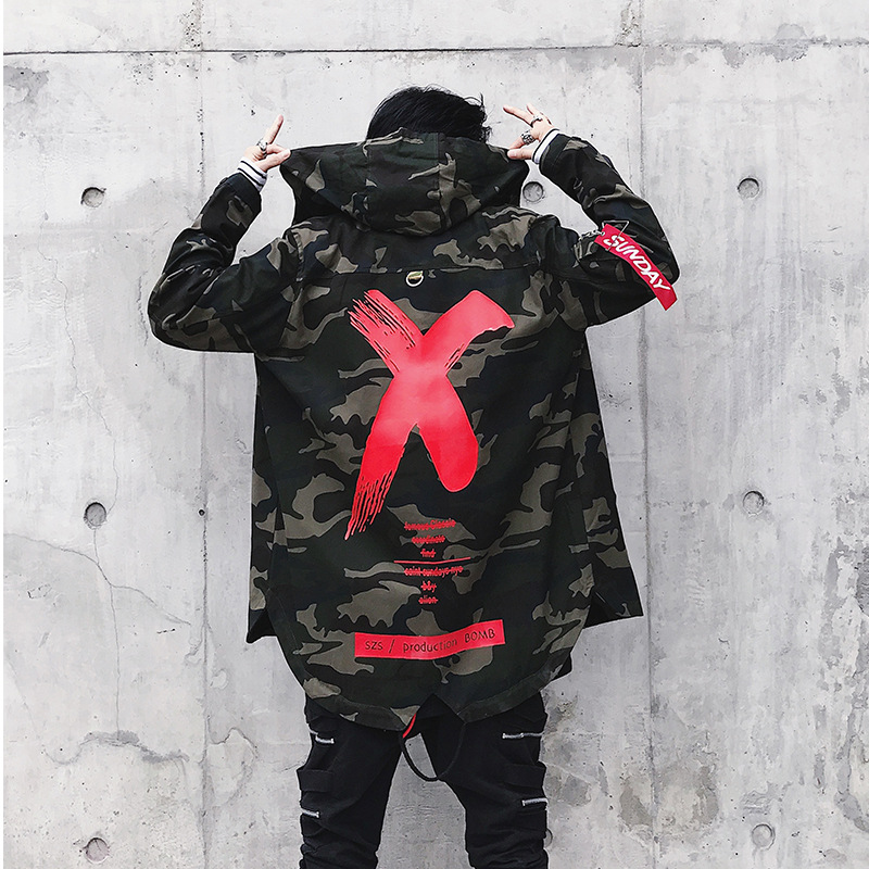 2019 Spring Men X Print Bomber Coat Mens Hip Hop Camouflage MA1 Bomber Jackets Harajuku Ribbon Patchwork Cotton Hoodies Coat