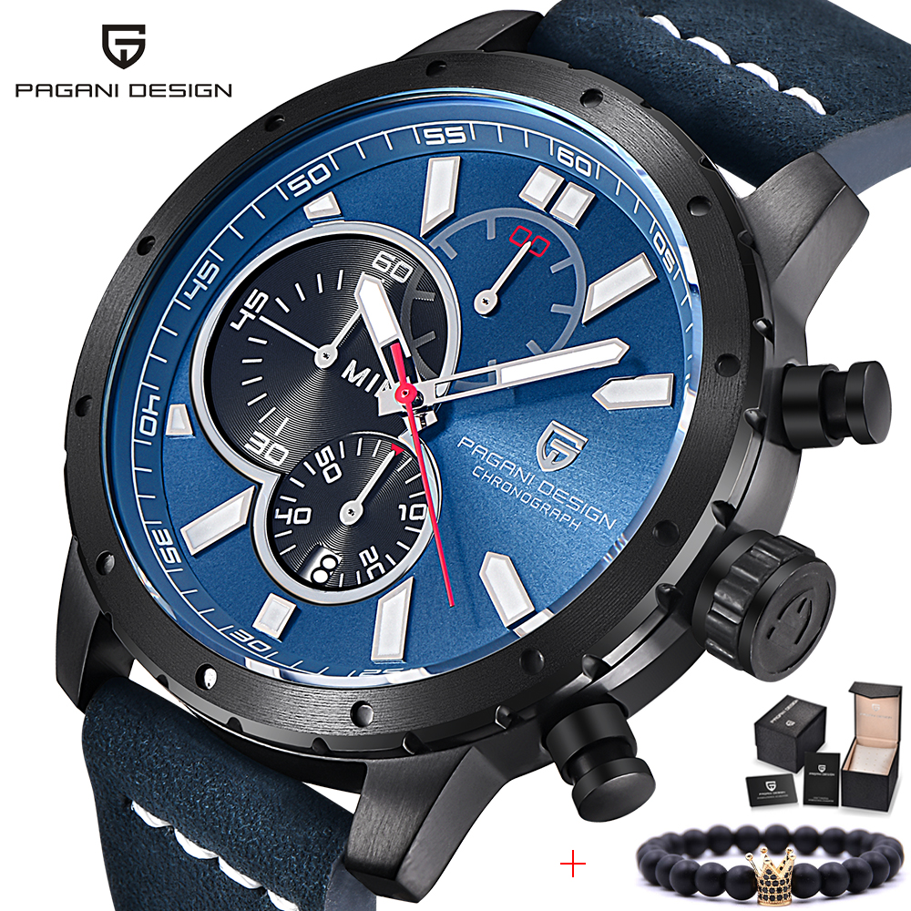 PAGANI DESIGN Top Brand Luxury Men Chronograph Watch Waterproof Sport Quartz Wrist Watch Men Leather Military Watch Male Clock pagani design men watch top brand luxury stainless steel leather sport military watch male quartz wrist watch men clock 2018 new