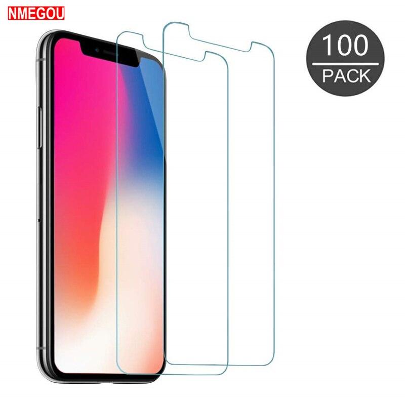 100 piezas para Apple IPhone X XR XS Max 11 Pro Protector de pantalla de vidrio templado para Iphonexr película protectora de pantalla cubierta-in Protectores de pantalla de teléfono from Teléfonos celulares y telecomunicaciones on AliExpress - 11.11_Double 11_Singles' Day 1