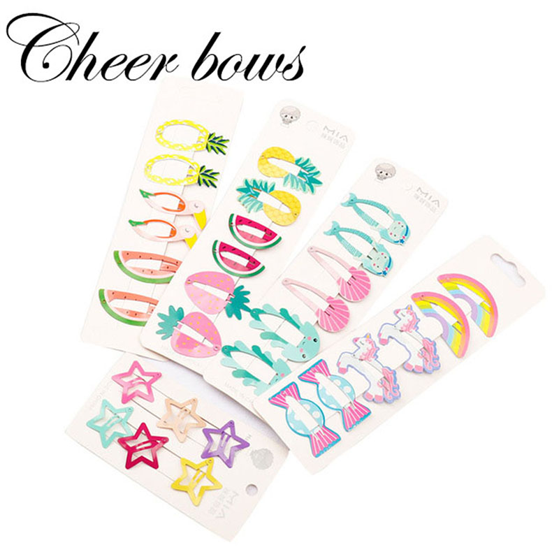 Cheer Bows 6PCS/lot Hair Accessories Cartoon Fruit Hair Clips Cute Star Hairpins Ins Style Candy Color Kids BB Clip   Headwear