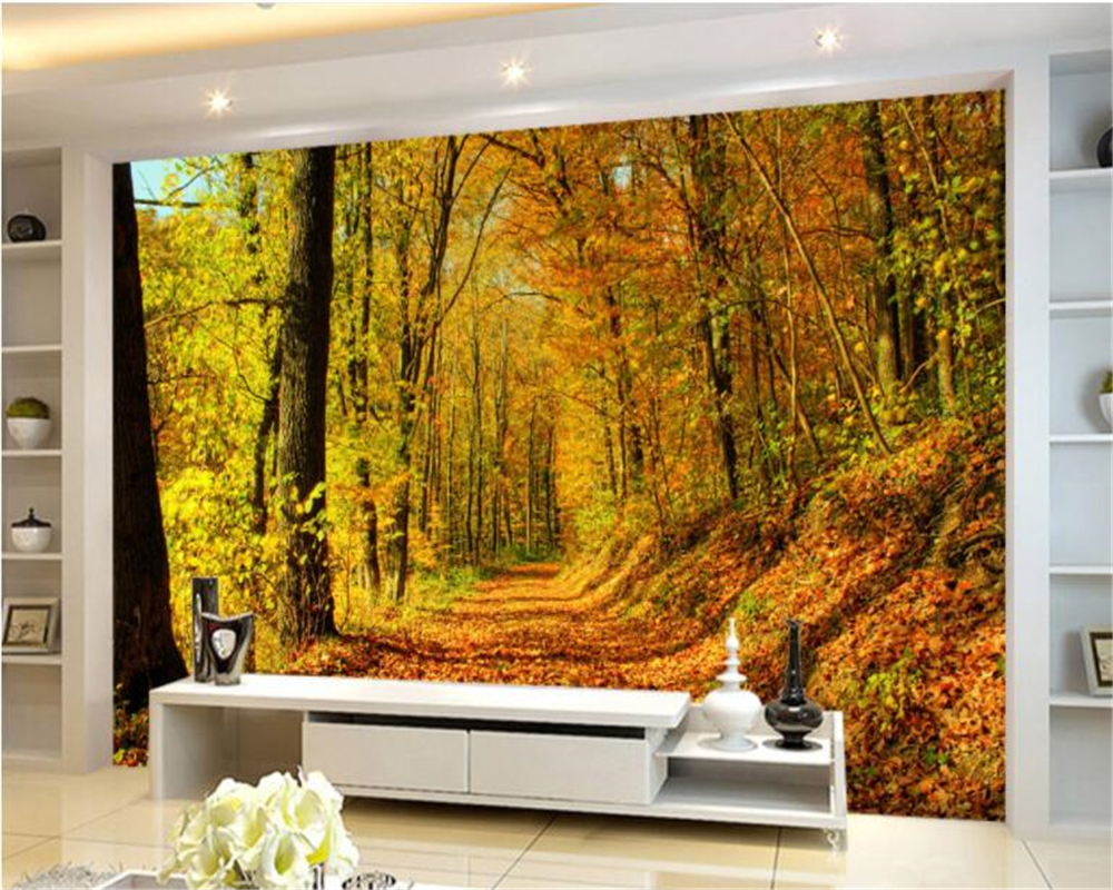 Online Shop Beibehang Wallpaper Custom Size Covered With Leaves Of The  Mountain Road Early Autumn Forest 3d Wall Murals Papel De Parede |  Aliexpress Mobile Part 75