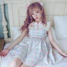 Милое платье принцессы в стиле Лолиты Bonbon21; летнее платье в японском стиле с вышивкой с матросским воротником и бантом; D1379