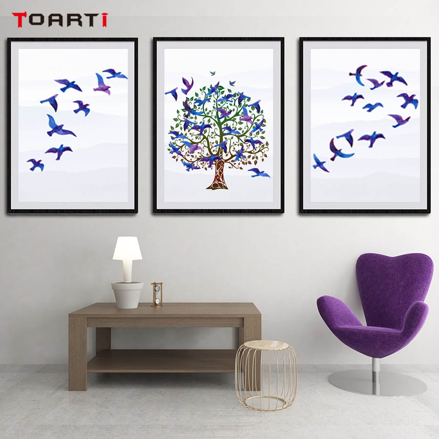 Flying Birds Nest Landscape Nordic Poster And Print Modern Canvas Painting Wall Picture For Bedroom Abstract Wall Art Home Decor (1)