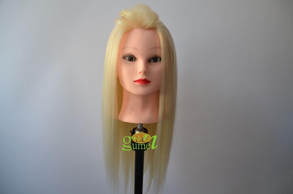 Livraison gratuite tête d'entraînement avec coiffure tête d'entraînement tête de Mannequin avec cheveux pour coiffeur offre spéciale