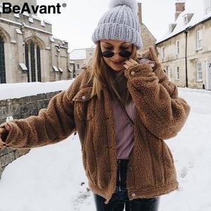 Image 4 - BeAvant Lamb wool winter women teddy fur coat warm Trendy furry pink lady coat jacket Pocket short faux fur coat outerwear 2019