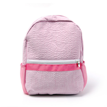 Personalize Kids Toddler School Backpacks Soft Seersucker Material Book Bags in Navy &  Pink (Can be Embroidery)