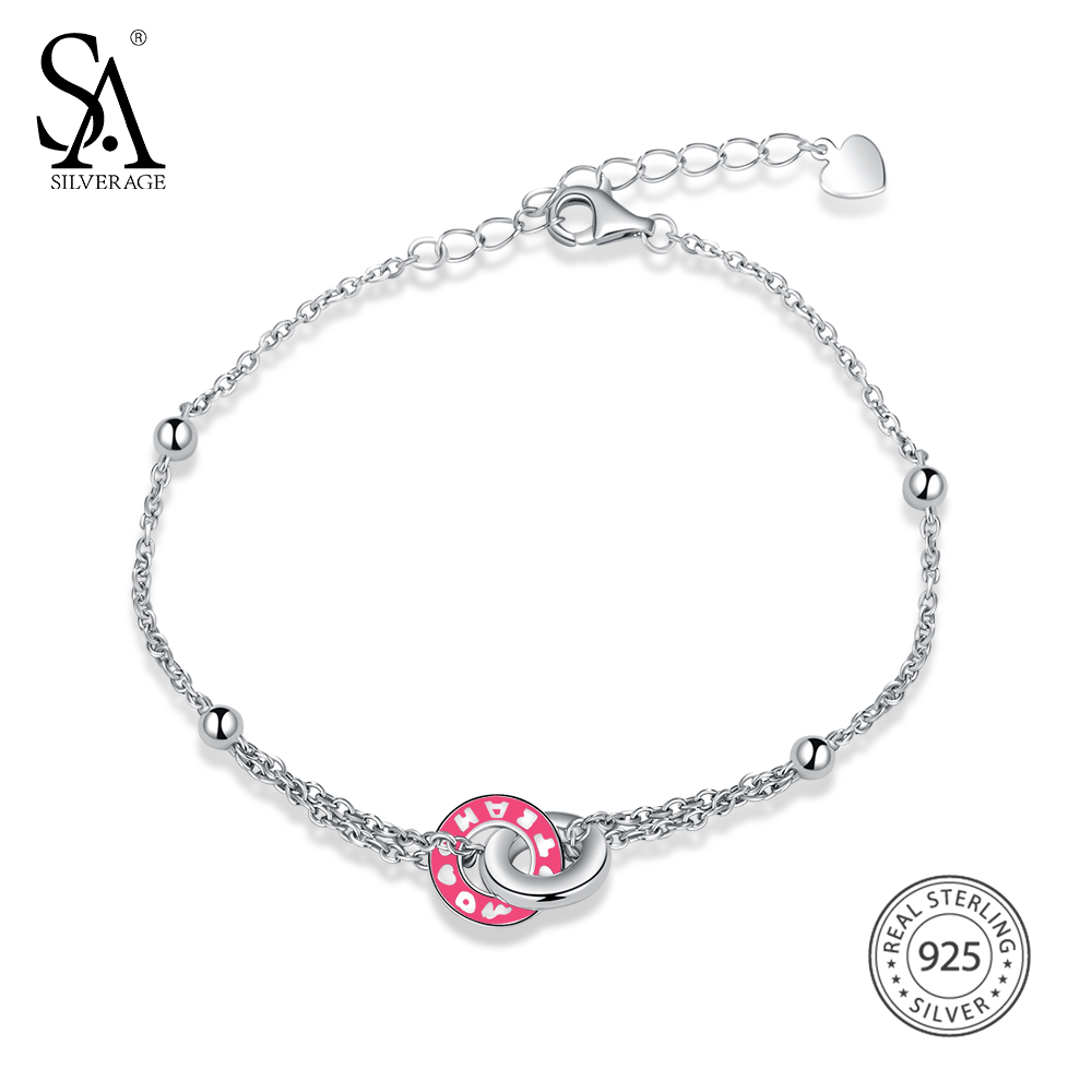 SA SILVERAGE Real 925 Sterling Silver Round Bracelets & Bangles for Women Fine Jewelry Chain Link Bracelet Female