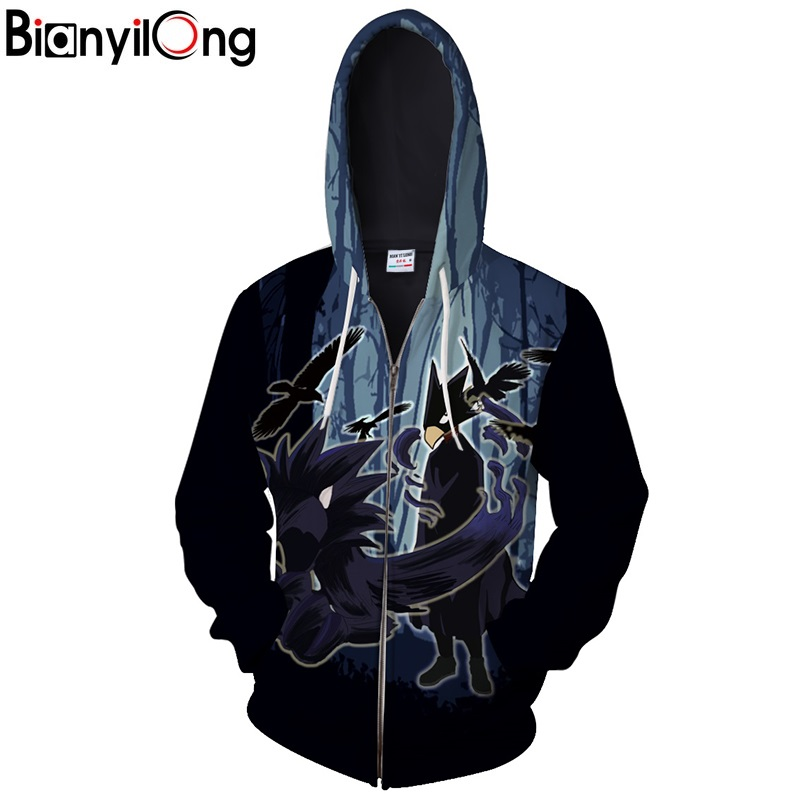 2018 new men/women hooded sweatshirt Dark forest Cool men women 3d jacket My Hero zipper Academia Pullover hip hop Tops US size