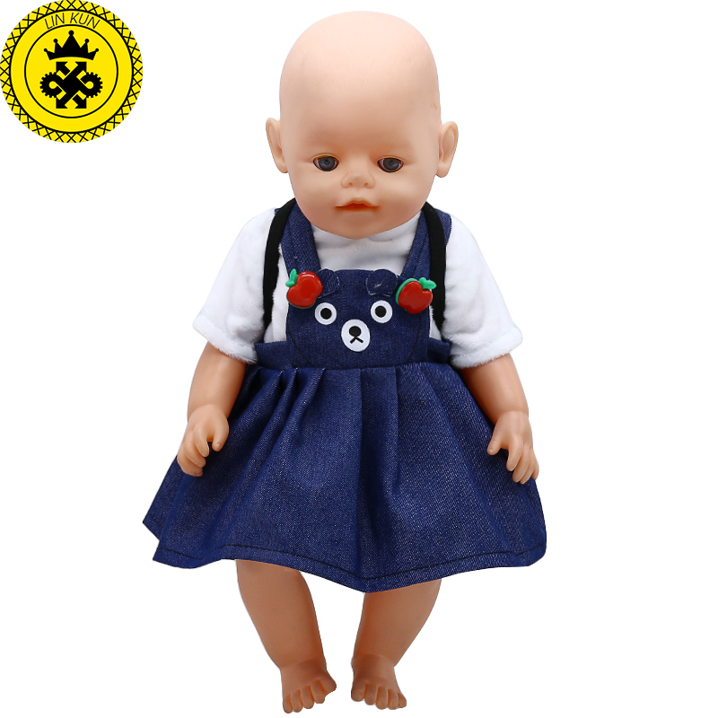 Baby Born Doll Clothes Cute Strap Dress + Backpack Fit 43cm Zapf Baby Born Doll Accessories Childrens Day Gift 380